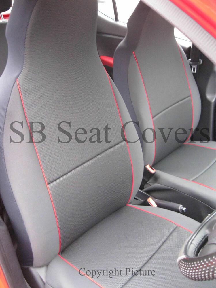 kia sedona 7 seater car seat covers charcoal grey red piping two fronts ebay. Black Bedroom Furniture Sets. Home Design Ideas
