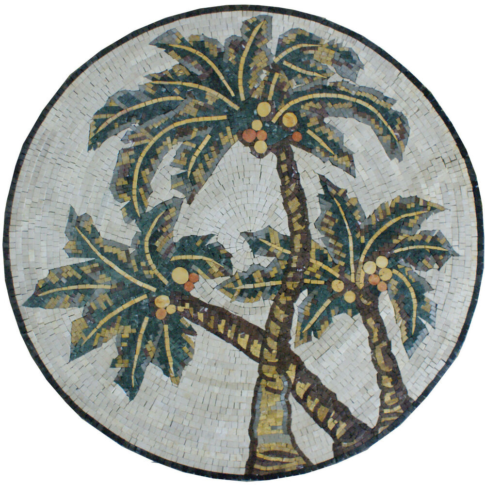 Palm tree desert decor wall home marble mosaic md1420 ebay for Mosaic home decor