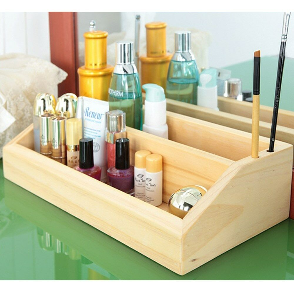 Made In Korea Pine Solid Wood 2 Layer Cosmetic Organizer