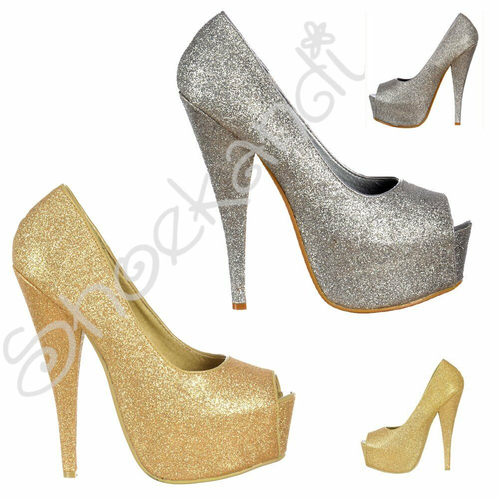 Details about Womens Sparkly Glitter Peep Toe Stiletto Party Prom High Heel  Shoes Silver Gold