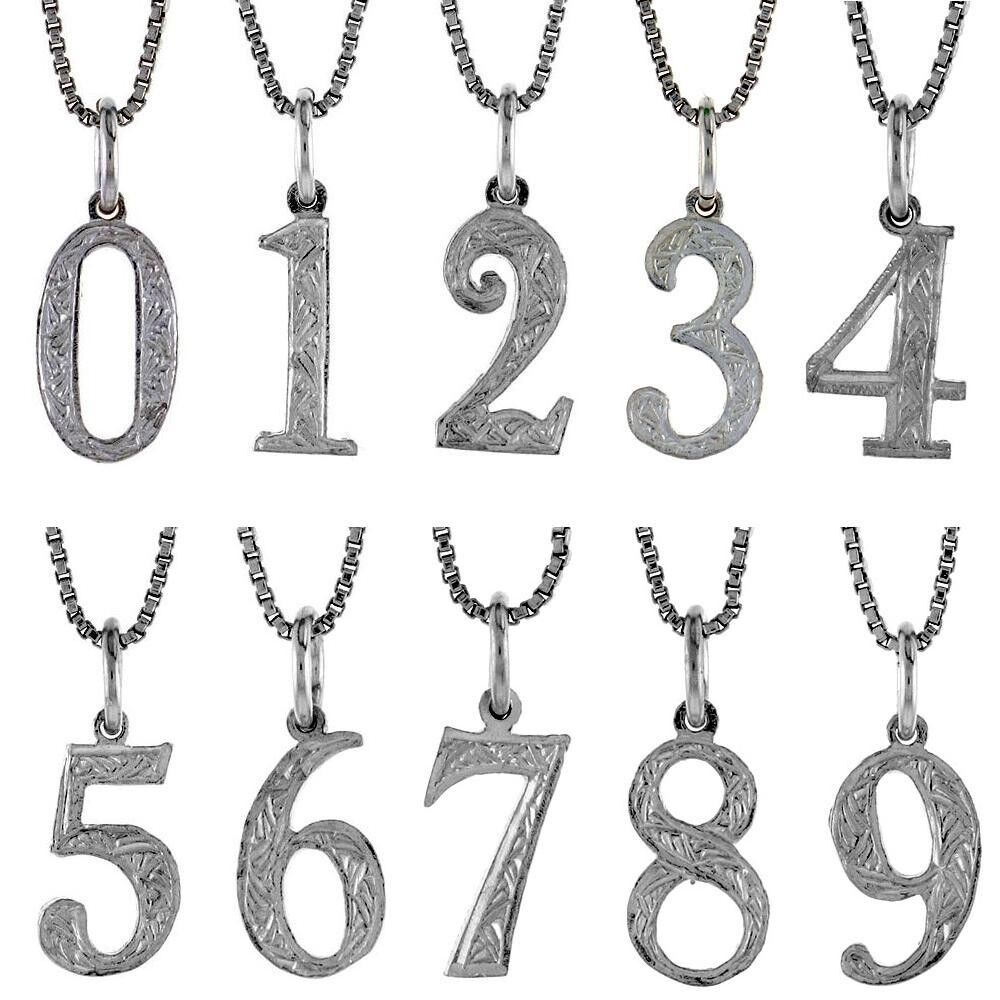 Sterling Silver Any One Number Pendant Charm From 0 To 9