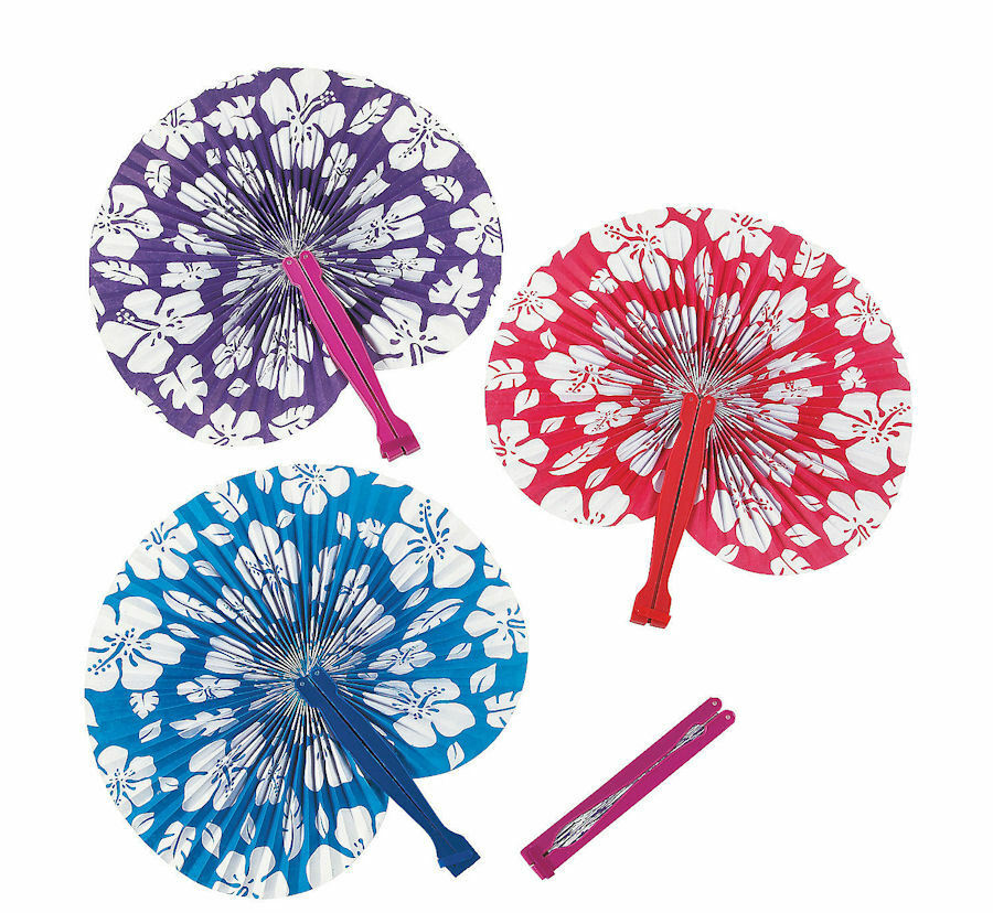12 LUAU PARTY FAVORS HIBISCUS FOLDING FANS TROPICAL Wedding Pool Birthday