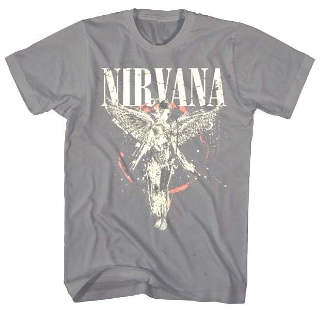 Nirvana Shirts Is your wardrobe starting to smell like teen spirit? Well upgrade it with some great Nirvana shirts from Hot Topic. Make people happy with a Nirvana Smiley t-shirt. Bring a legend back to life with a variety of Kurt Cobain shirts. Hot Topic has a large selection of Nirvana merch that will feel like you are getting the band back together.