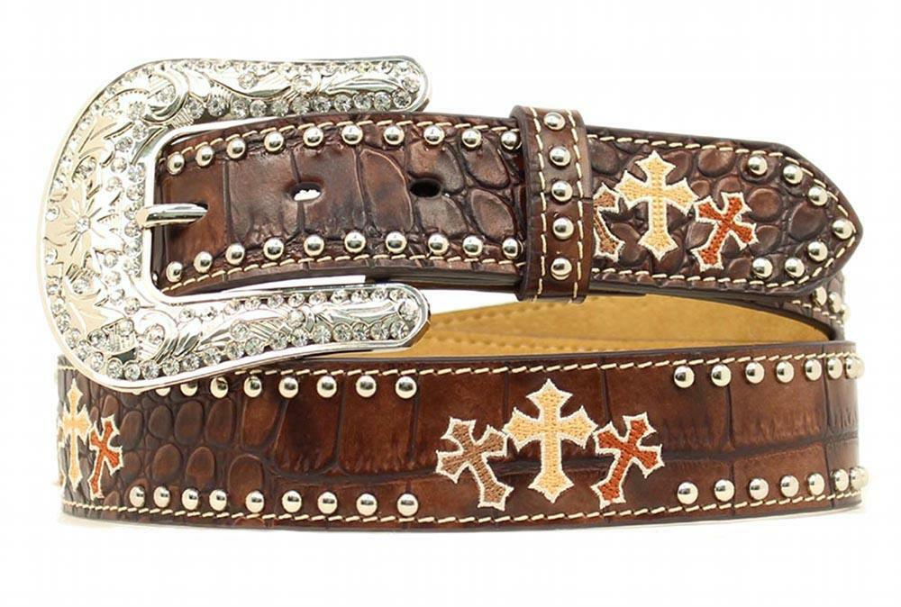 Ladies' Western Belts. We pride ourselves in our superior selection of western belts for women. Ranging from traditional leather tooling, to colorful hand painting, to western rhinestone belts these cowgirl belts make sure to cover all western styles.