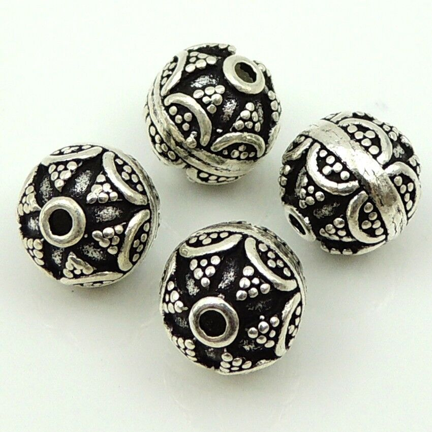 Silver Beads: 4 PCS Sterling Silver Beads 925 Vintage Celtic Round Bead