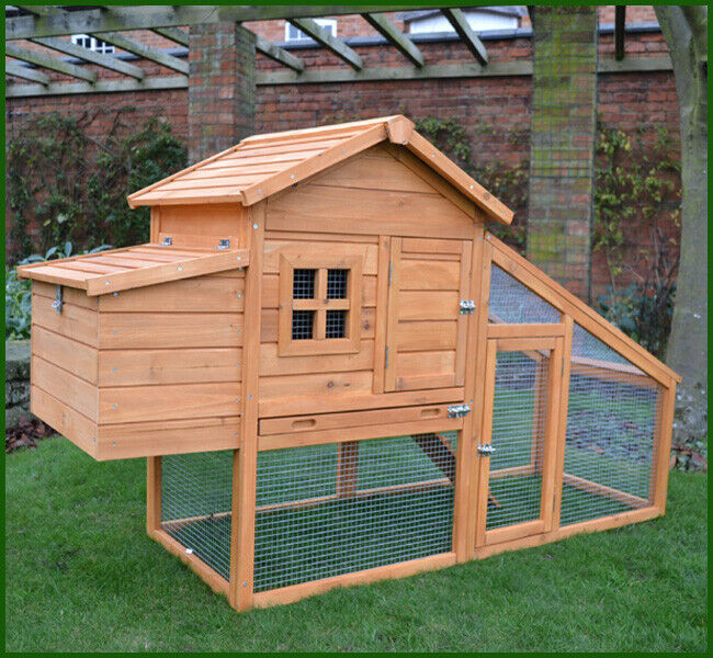 Chicken coop run hen house poultry ark home nest box coup coops rabbit hutch ebay - Comment construire un poulailler ...
