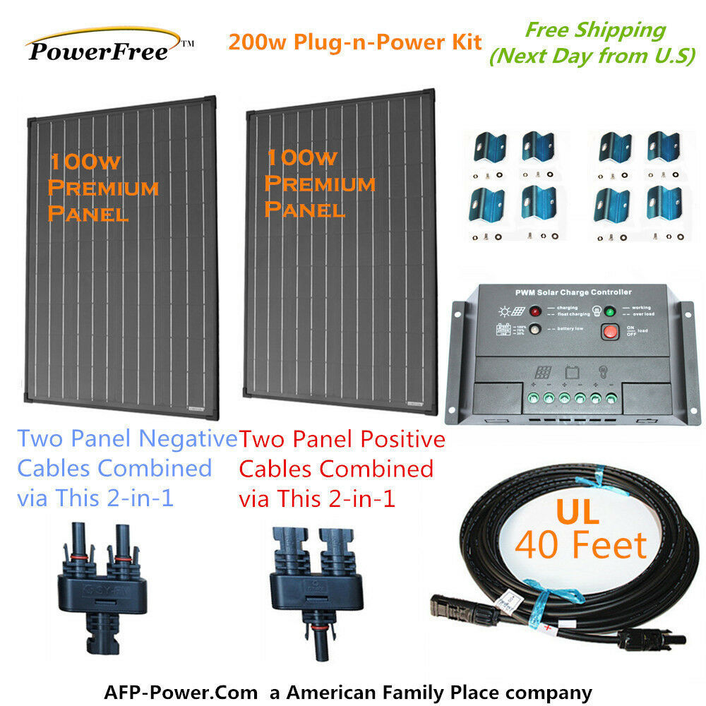 200w 200 watt 2 100w solar panel plug n power space flex. Black Bedroom Furniture Sets. Home Design Ideas