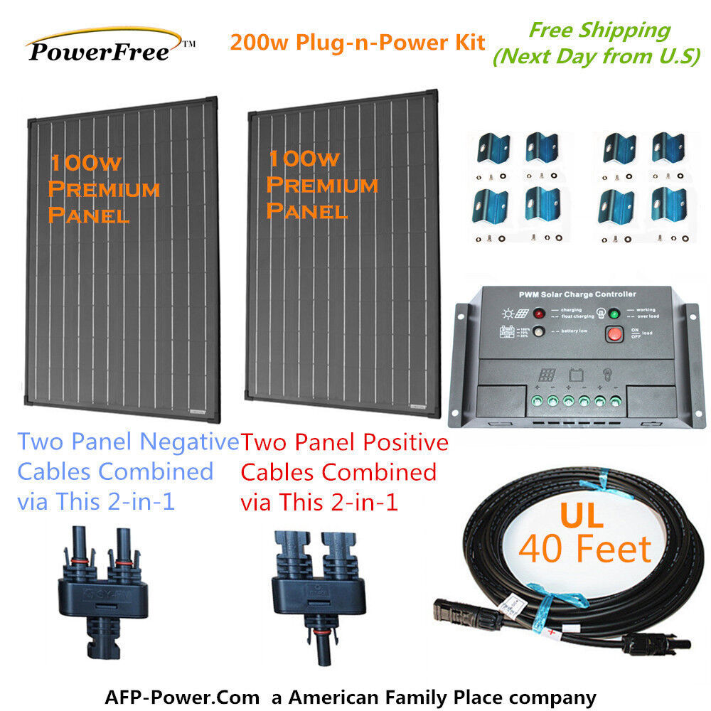 200w 200 watt 2 100w solar panel plug n power space flex kit for 12v battery ebay. Black Bedroom Furniture Sets. Home Design Ideas