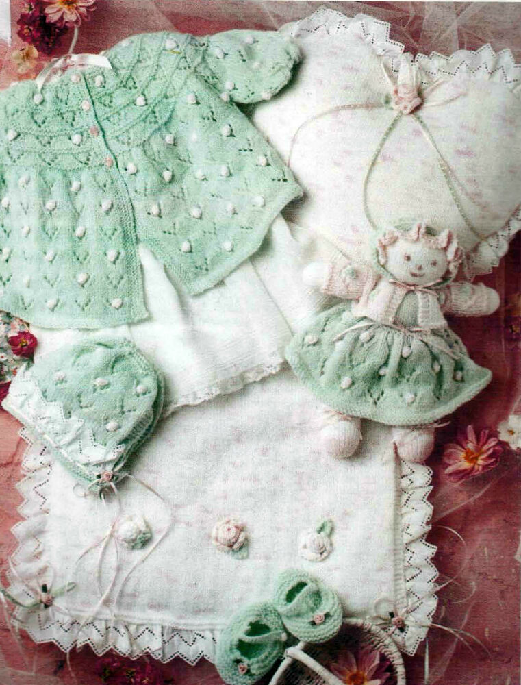 Knitting Patterns For Dolls Bedding : Knitting Pattern- Bonnie Baby Girl Layette , Doll & Quilt set in 4 ply ...