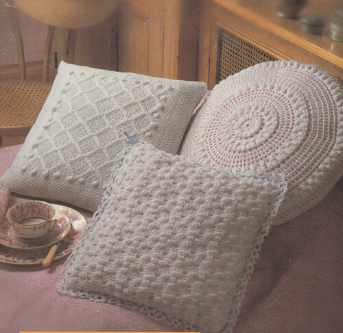 Knitting Patterns For Cushion Covers : Knitting - Crochet Pattern in 4ply for 4 cushion covers- 2xKnit & 2xc...