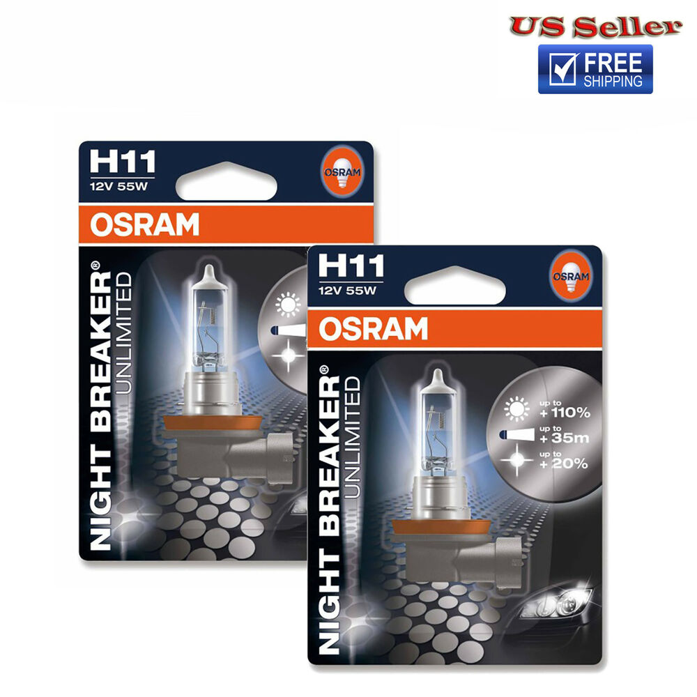 osram night breaker unlimited h11 bulbs 55w brand new pair ebay. Black Bedroom Furniture Sets. Home Design Ideas