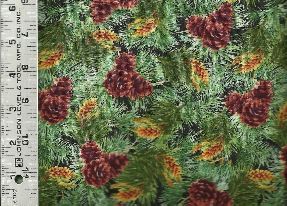 Quilting treasures full moon pinecones allover 100 for Cotton quilting fabric