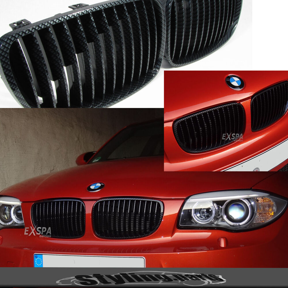 bmw 1er e81 e82 e87 e88 coupe cabrio fiessheck nieren grill carbon look ebay. Black Bedroom Furniture Sets. Home Design Ideas