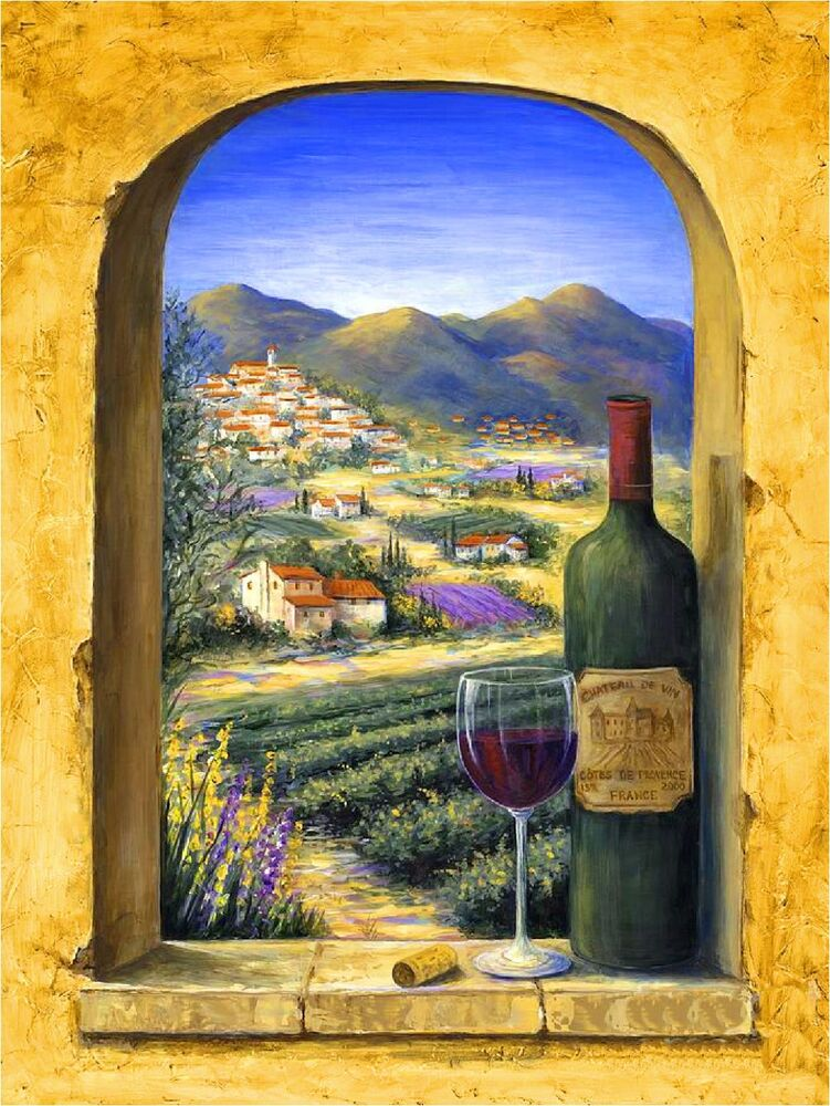 Provence vineyards wine france french european travel art for Painting and wine