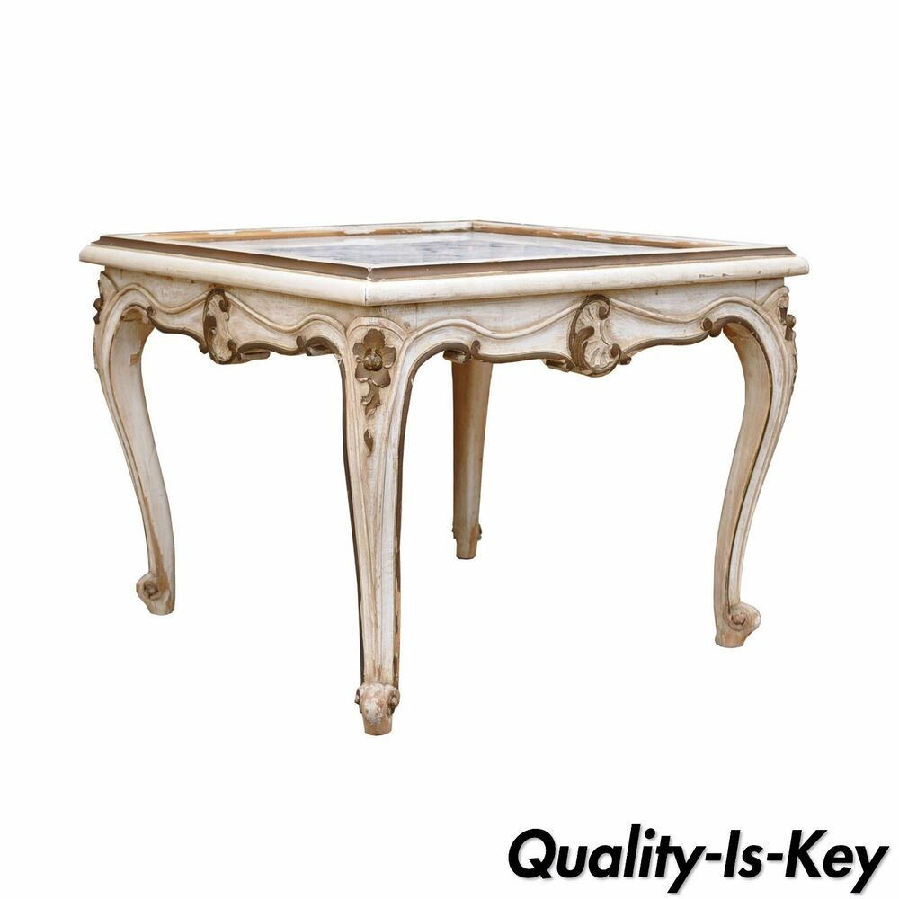 Antique French Marble Top Coffee Table: Antique French Louis XV Style Painted Marble Top