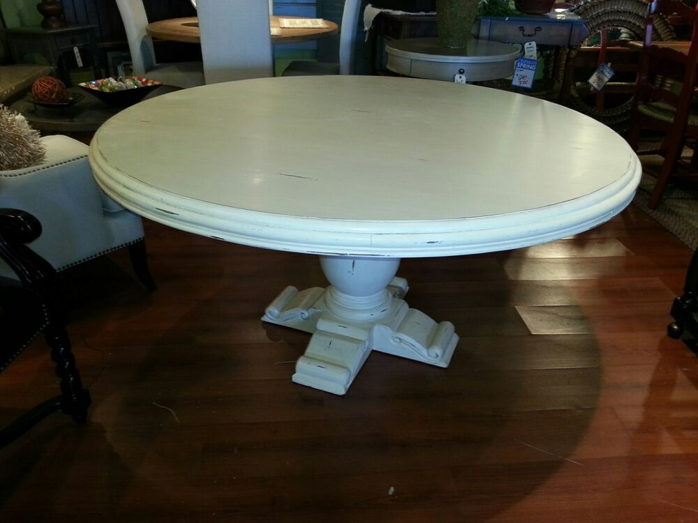 wood 60 round mahogany antique white pedestal dining table ebay