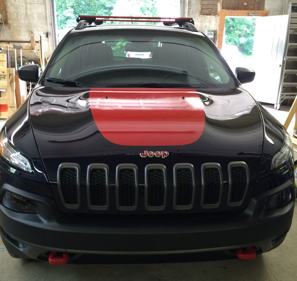 Jeep Renegade Stickers >> Jeep Cherokee 2014 Front Hood Decal Inlay Cover Trailhawk Wrap Gloss Red Vinyl | eBay