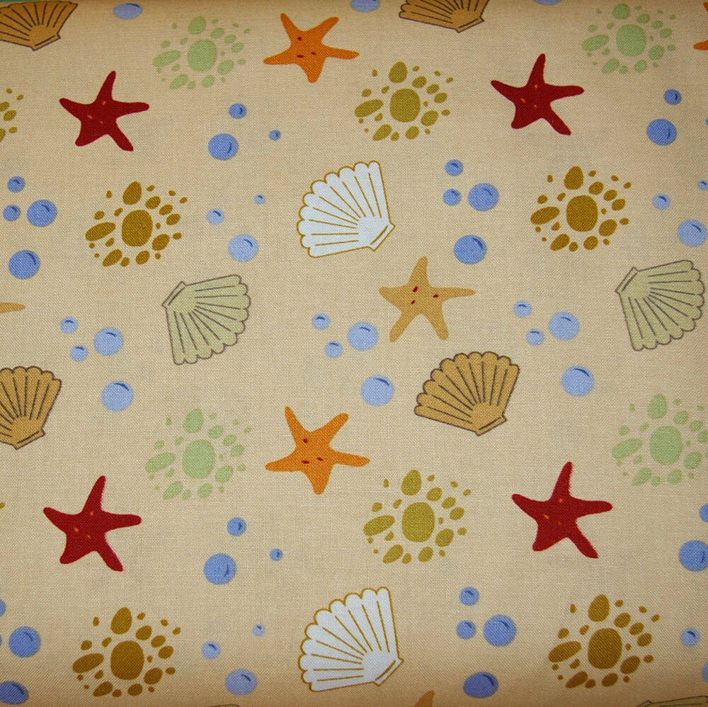 Sea shells star fish 100 cotton quilt fabric by the 1 for Fish fabric by the yard