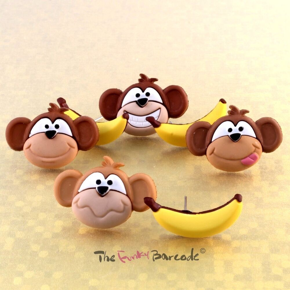 Funky monkey banana stud earrings novelty cute retro cool for Quirky retro gifts