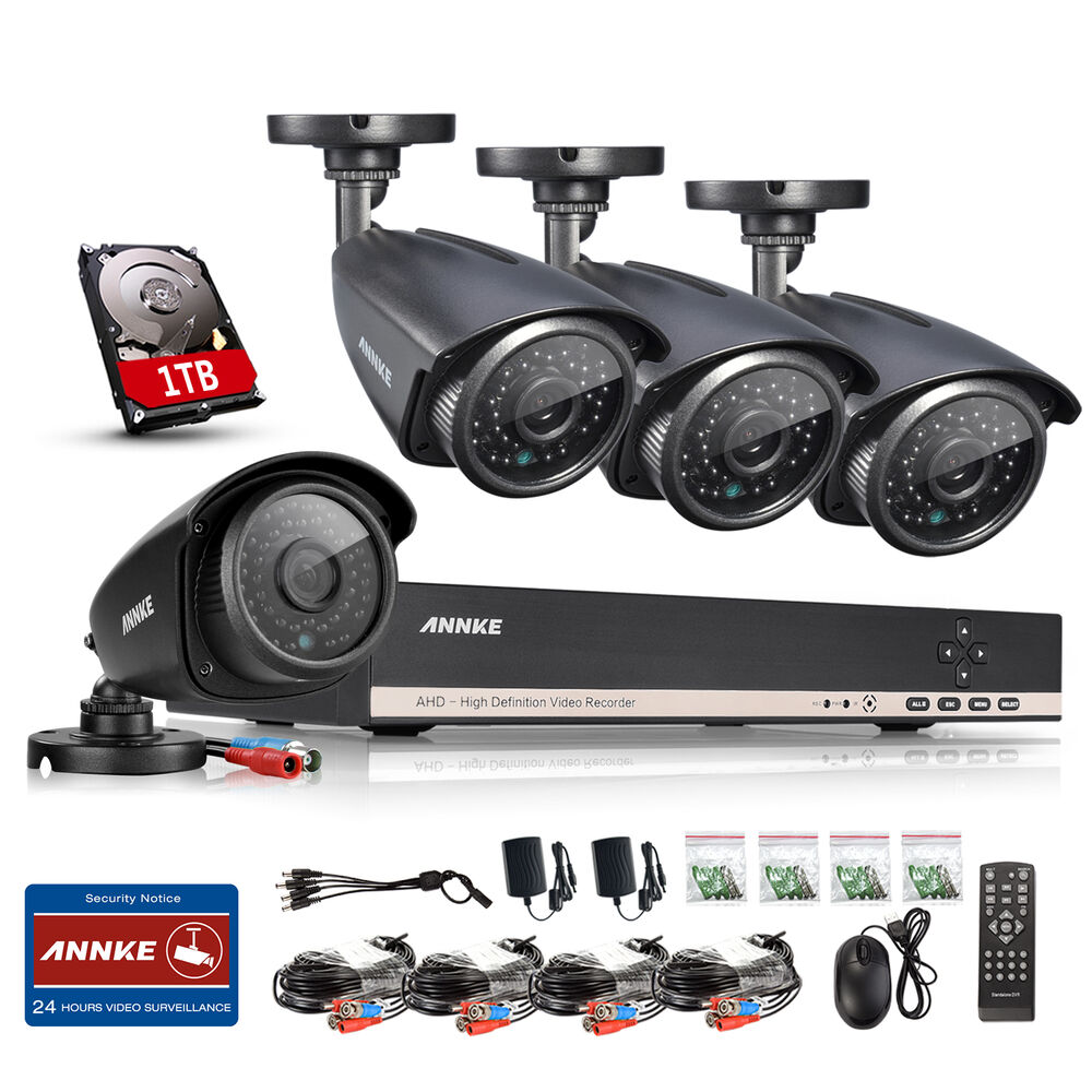Annke hd 8 channel 1080n dvr 4 outdoor cctv home security camera system 1tb kit ebay - Exterior surveillance cameras for home ...