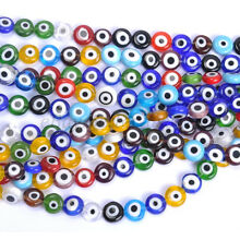 Mixed EVIL EYE Flat Round MILLEFIORI Glass Loose Spacer BEADS 6MM 8MM 10MM 12MM