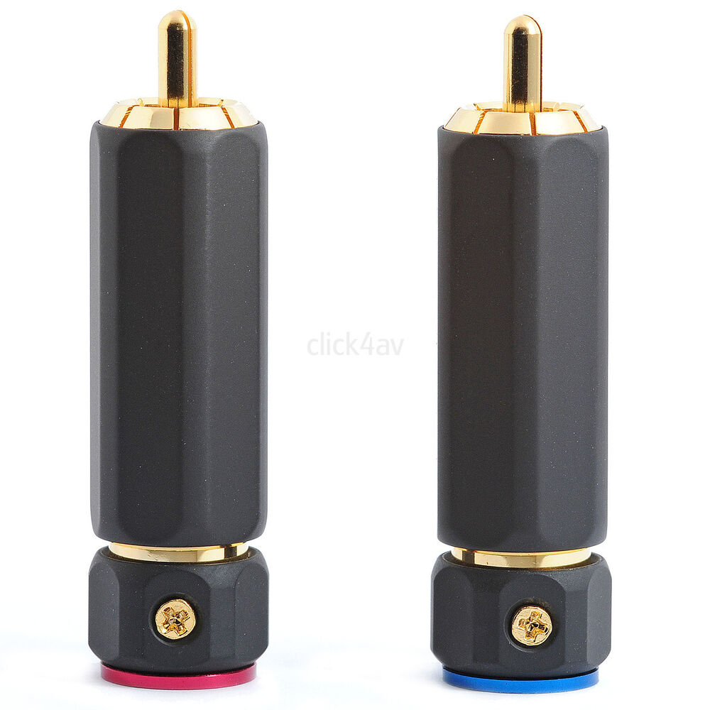 8 locking phono rca plug connectors for large diameter audio cable phoplu02 5060395100483 ebay. Black Bedroom Furniture Sets. Home Design Ideas