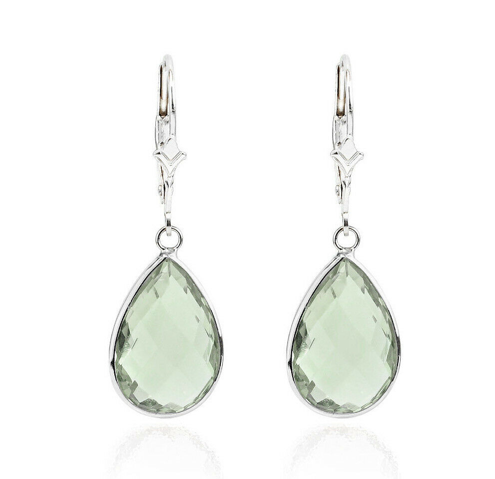 14k white gold gemstone earrings with green amethyst ebay. Black Bedroom Furniture Sets. Home Design Ideas