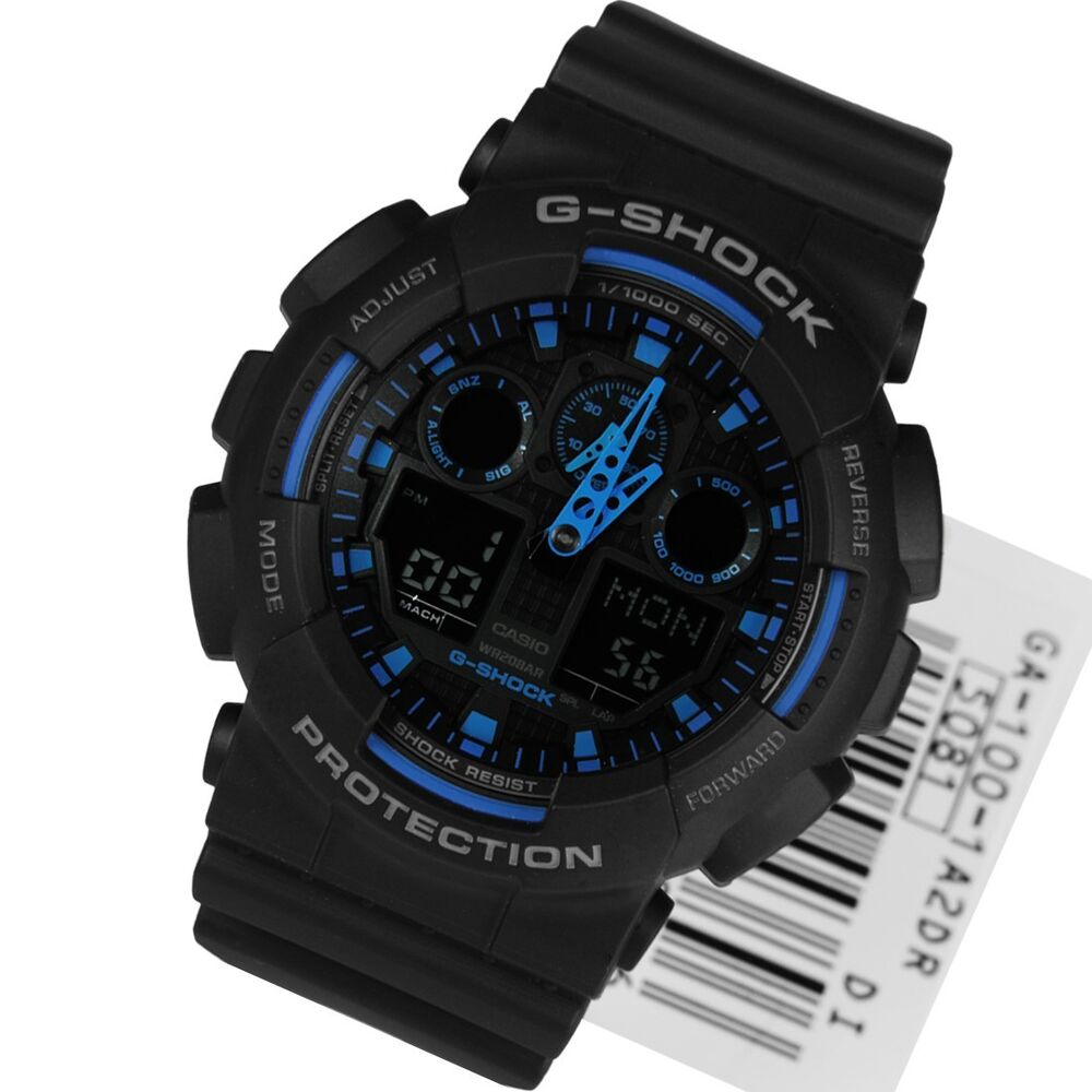 Brand new mens casio g shock hyper blue xl ga 100 1a2er 1a2dr watch rrp 159 ebay for Watches g shock