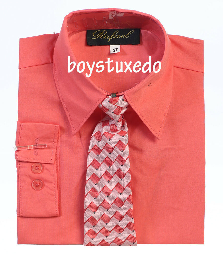 New Boy's Toddler Coral Solid Long Sleeve Dress Shirt With ...
