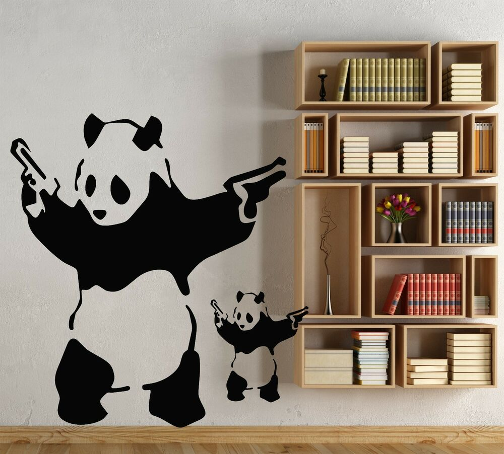 Large banksy panda art bedroom wall mural stencil sticker for 8 sheet giant wall mural