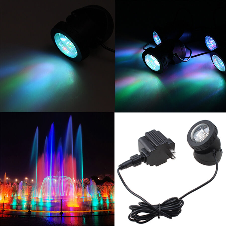 1 2 3 4 set pond underwater spot led light fountain garden - Swimming pool fountains and lights ...