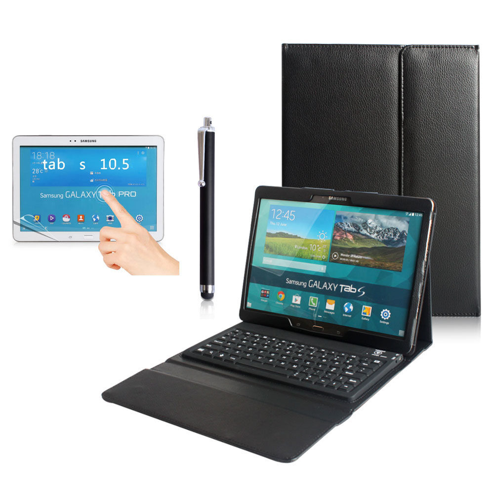 bluetooth keyboard leather case cover samsung galaxy tab s. Black Bedroom Furniture Sets. Home Design Ideas