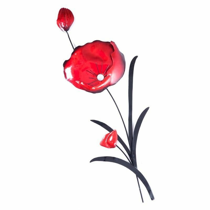 Red Poppy Wall Decor : Metal wall art decor picture red poppy black leaves