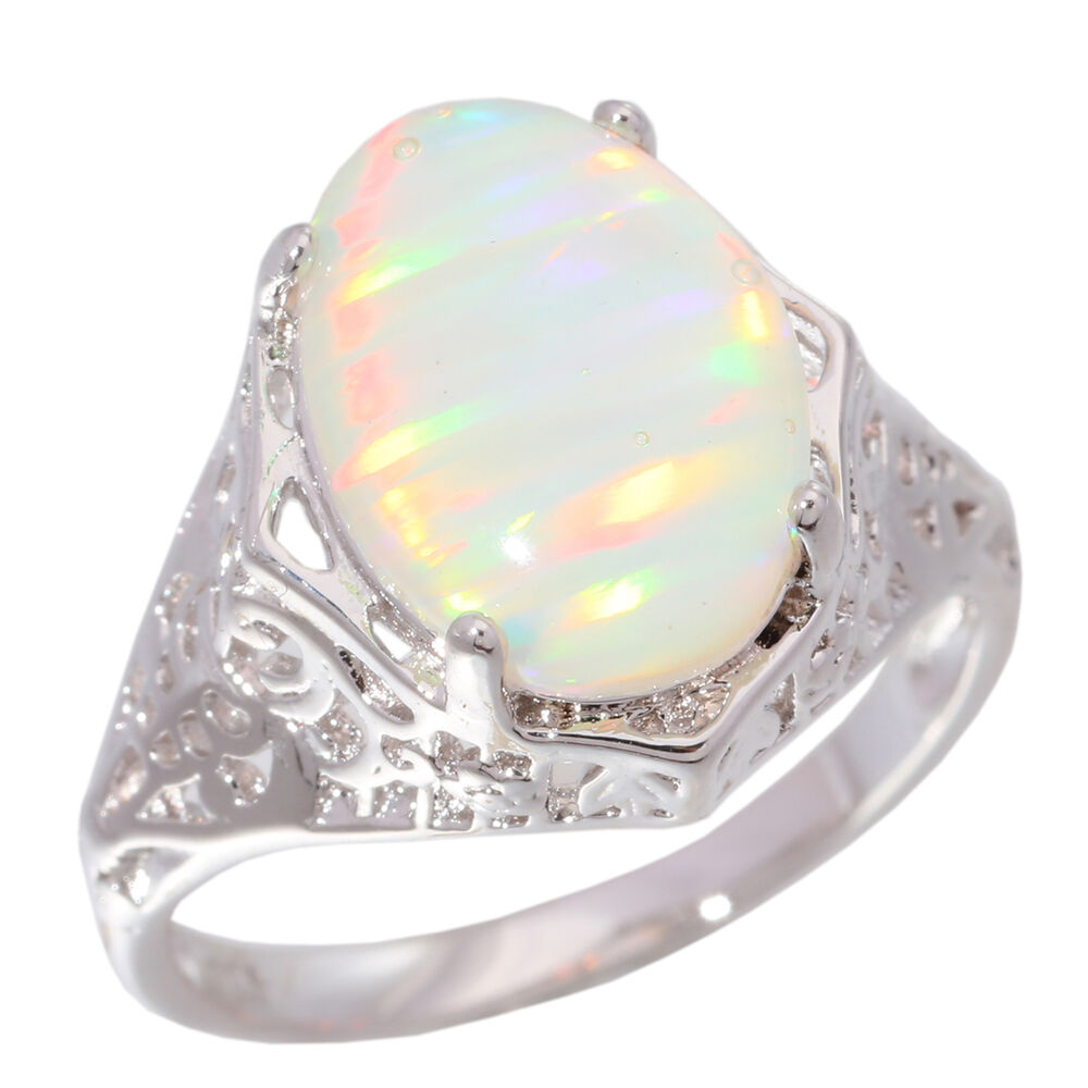 white fire opal women jewelry gemstone silver ring sz 5 6. Black Bedroom Furniture Sets. Home Design Ideas