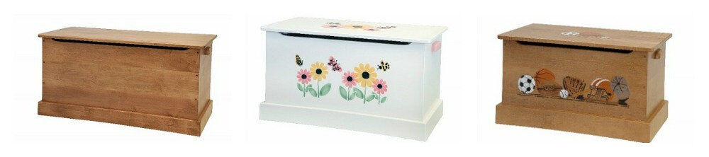 Wooden Toy Chest Box Sports or Butterfly Flower Stencil Amish Handmade ...