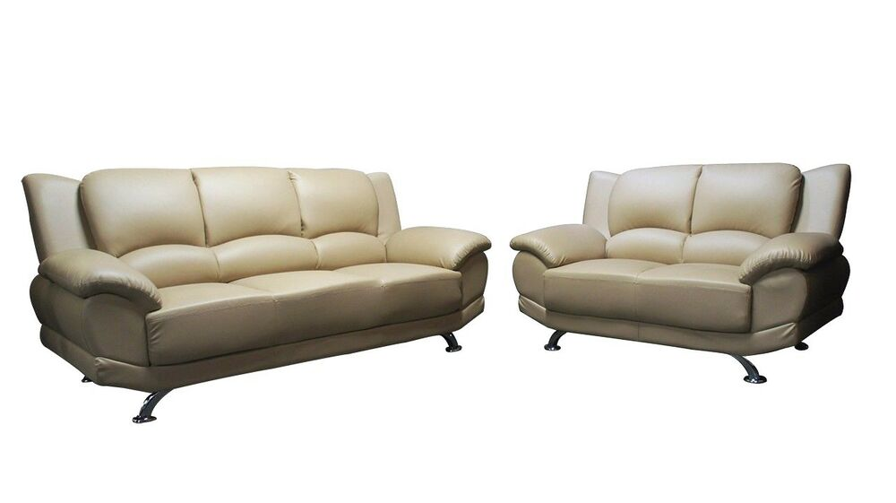 2pc beige pvc sectional living room sofa couch loveseat for Sectional sofa bed ebay
