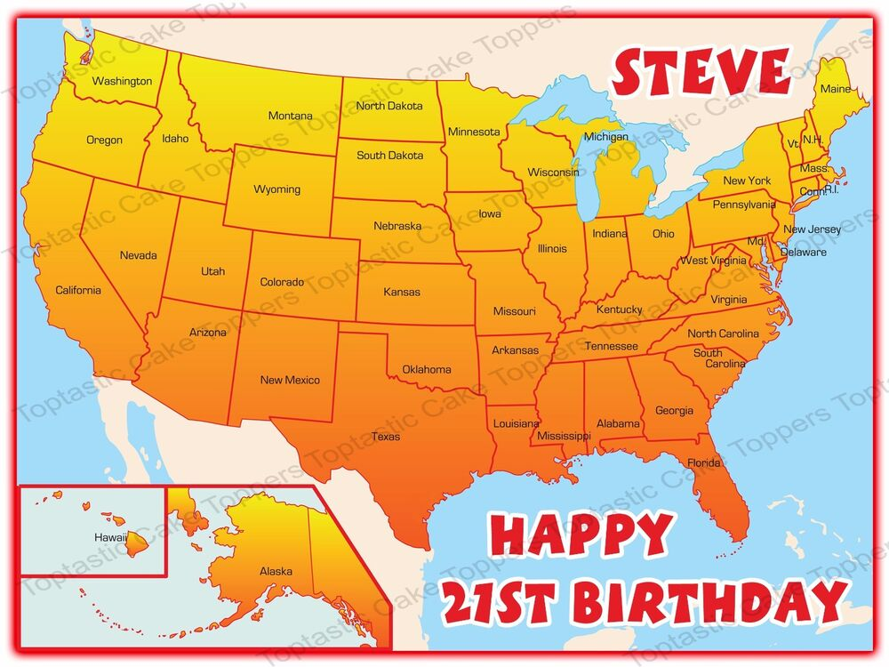 Personalised America USA American States Map Travelling Edible Icing ...