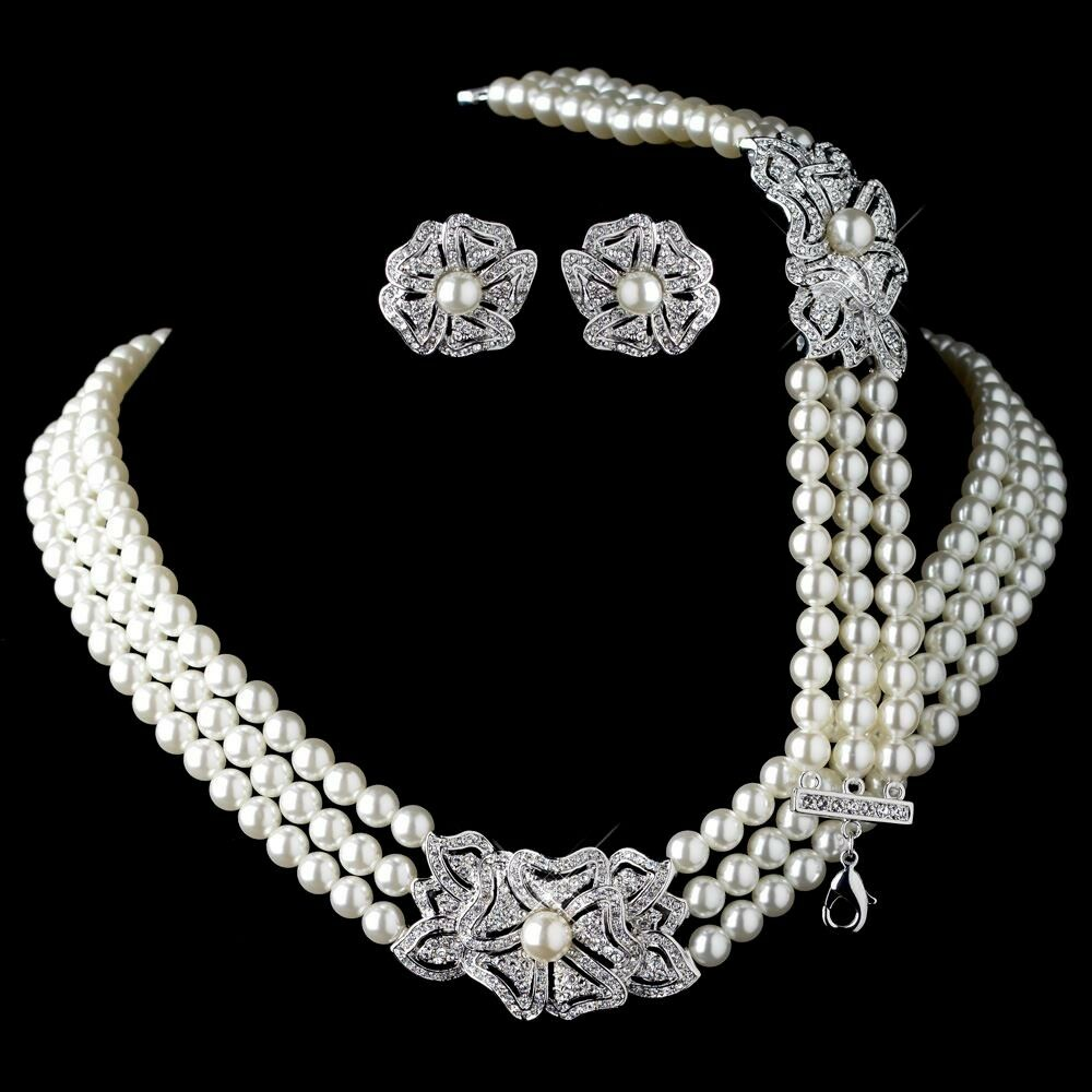 bracelet and earrings sets rhodium ivory pearl rhinestone necklace bracelet vintage 5277