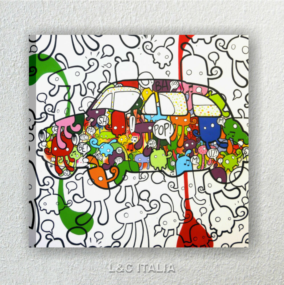 Fiat 500 pop art 2 quadro su tela 50x50 cm stampa popart for Arredamento pop art