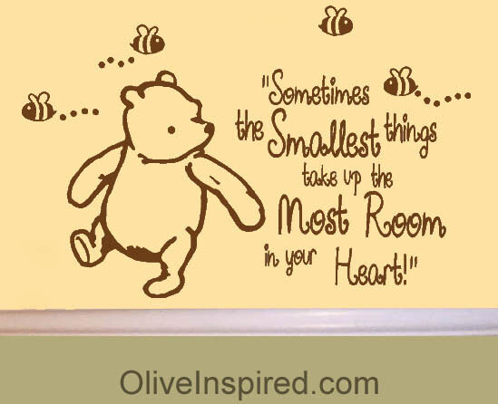 Large classic winnie the pooh saying smallest things vinyl for Classic winnie the pooh wall mural