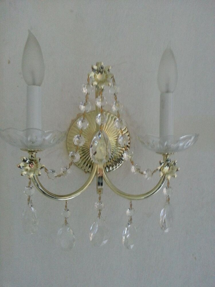 Vintage Schonbek 2 Light Brass Look Crystal Wall Sconce
