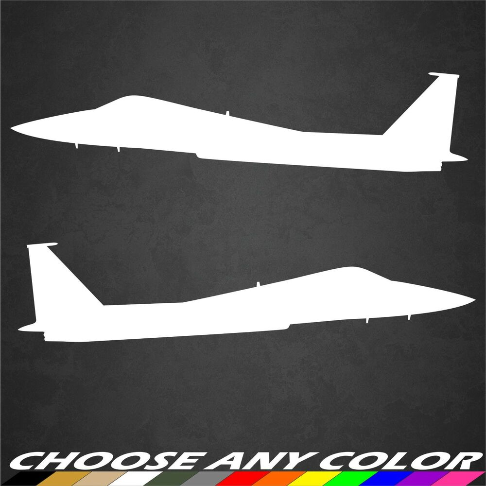 2 Usaf F 15 Aircraft Stickers Side View Military Graphics