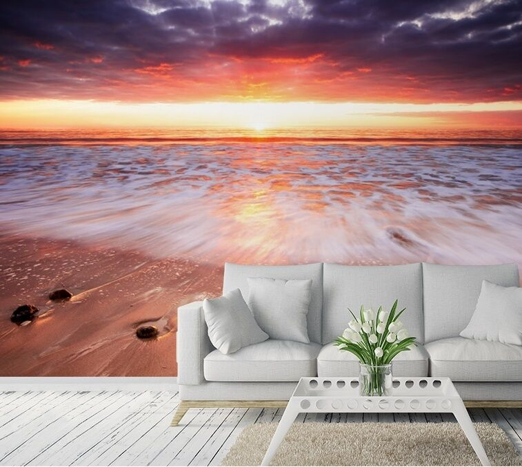 Wall mural sunset beach photo wallpaper large size wall for Beach sunset wall mural