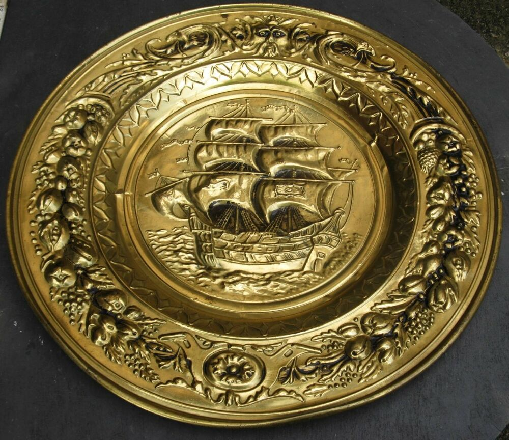 Brass Sail Boat Ship Embossed England Wall Hanging Plaque