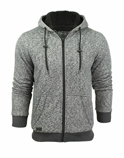 Mens Soft Borg Sherpa Fleece Lined Hoody Hoodie Sweatshirt