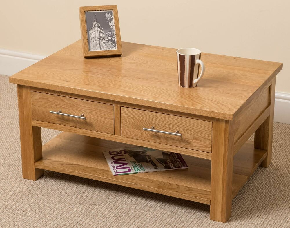 Oslo 100 Solid Oak Coffee Table With 2 Drawers Low Living