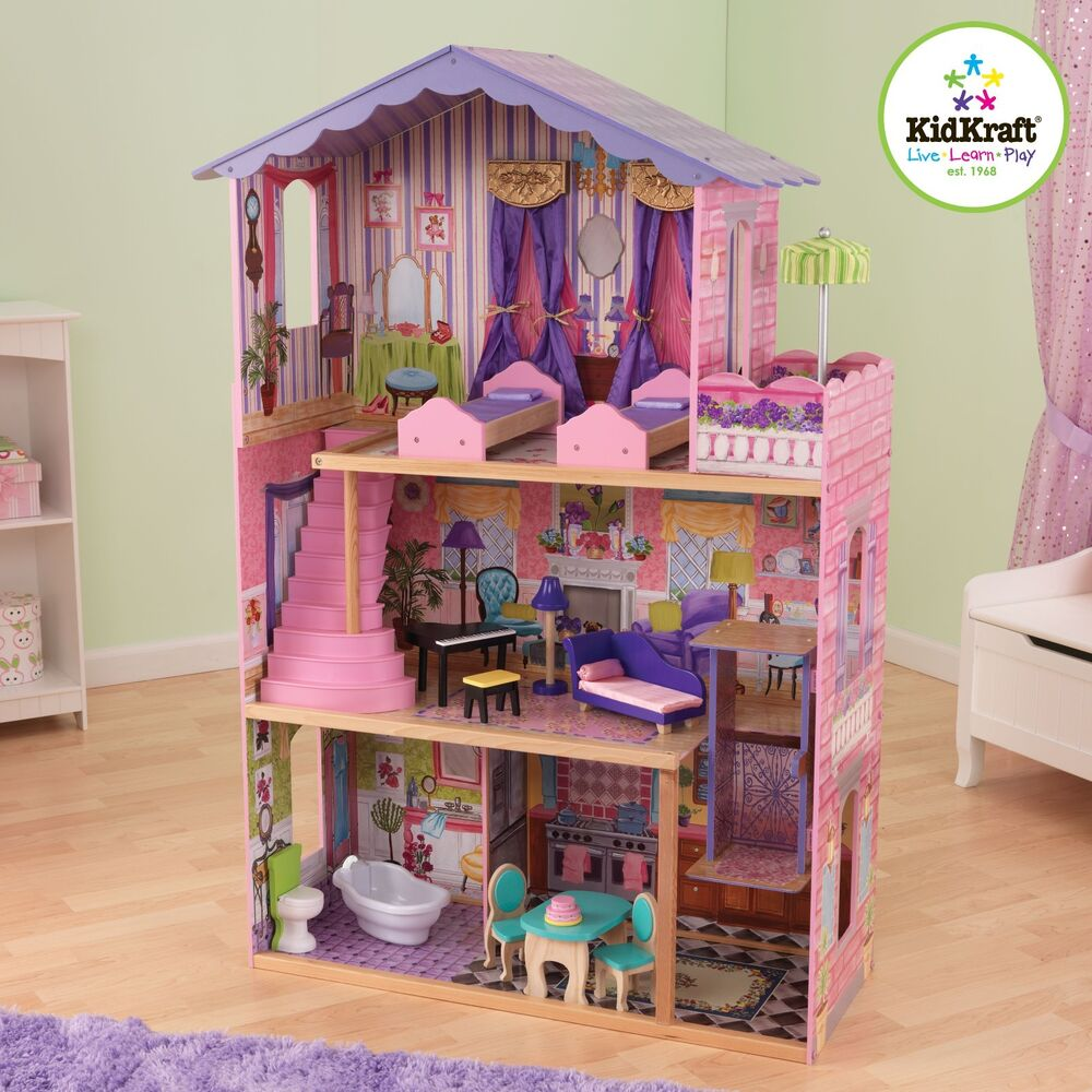 Kidkraft My Dream Mansion Wooden Dollhouse Gliding Elevator 13 Wooden Furniture Ebay