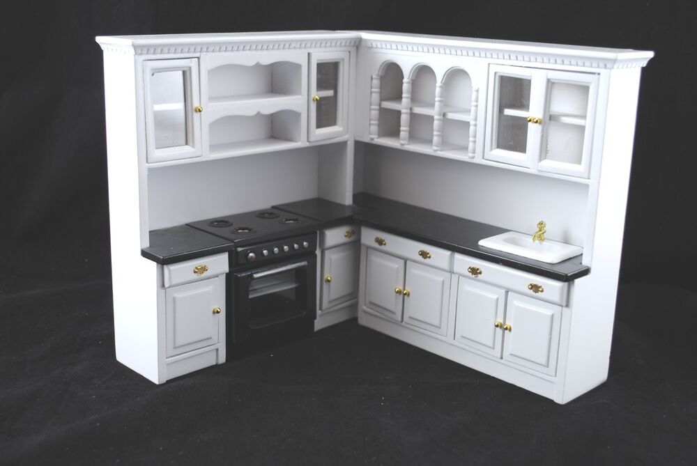 kitchen set white t5296 dollhouse miniature 4pc 1 12 scale