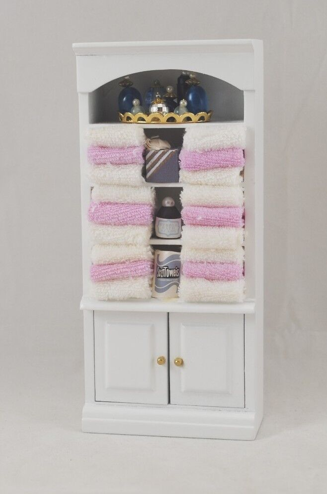 Luxury VINTAGE PURPLE WOOD DOLLHOUSE MINIATURE BATHROOM FURNITURE 6 PIECE SET