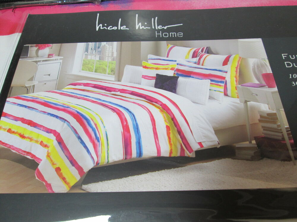 New Nicole Miller King Duvet Amp Shams Set 300tc Red Yellow